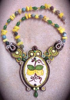 Soutache necklace with Caltagirone ceramic (Sicily)