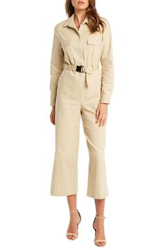 This one-and-done jumpsuit is made from a soft cotton bend with a modern, cropped silhouette, button front and waist-defining, removable belt. Style Name:Bardot Ariana Long Sleeve Wide Leg Crop Boilersuit. Style Number: Available in stores. Wrap Dress Floral, Faux Wrap Dress, Boiler Suit, Scuba Dress, Denim Shirt Dress, Leather Mini Skirts, Work Attire, Cap Sleeves, Wide Leg