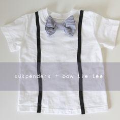 suspenders + bow tie tee