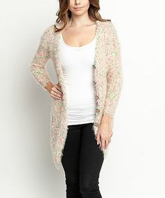 Look at this Ivory & Pink Speckled Maxi Cardigan on #zulily today!