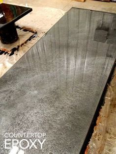 This silver epoxy countertop would look stunning in a modern kitchen.