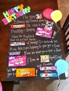 birthday candy bar poster for birthday gift Homemade Birthday Gifts, Birthday Gifts For Best Friend, 30th Birthday Gifts, Birthday Crafts, Friend Birthday, Grandpa Birthday, Brother Birthday, Surprise Birthday Parties, Good Gifts For Friends