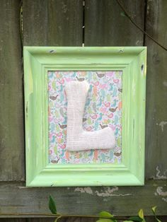 Upcycled Shabby Chic Personalized Monogrammed Colorful Birds Distressed Picture Frame Child Baby Room Decor. $19.00, via Etsy.