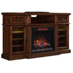 Home Decorators Collection, Rosengrant 59.5 in. Media Console Electric Fireplace in Walnut with Reversible Wine Shelves, 88966Y at The Home Depot - Mobile