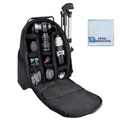 eCost BKP457 Deluxe CameraVideo Padded Backpack for SLR  DSLR Cameras with Microfiber Cloth >>> Want additional info? Click on the image.