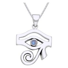 Carolina Glamour Collection Sterling Silver Egyptian Eye of Horus Pendant with Moonstone Necklace