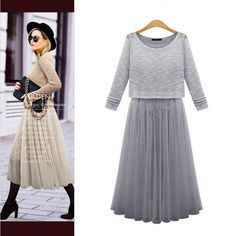 >>>Coupon CodeWomen's Midi Summer Dress, Two Piece Casual Pleated Slim Gauze Sundress Tops-in Dresses from Women's Clothing