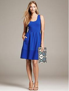 Textured Blue Fit-and-Flare Dress | Banana Republic