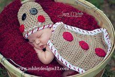 Crochet Pattern - Gingerbread Baby Cape Set. $5.49, via Etsy.
