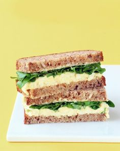 Classic Egg Salad Recipe from Martha Stewart Living: 8 hard-cooked eggs, peeled, chopped cup mayonnaise 2 tablespoons celery, chopped 2 teaspoons Dijon mustard Few dashes hot-pepper sauce Salt and pepper Lettuce or watercress Bread or toast Wrap Recipes, Egg Recipes, Lunch Recipes, Sandwich Recipes, Salad Recipes, Cooking Recipes, Sandwich Ideas, Publix Recipes, Egg Salad Sandwiches