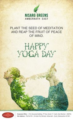 Nisarg Greens wishes all of you a very Happy Yoga Day Yoga Festival, Festival Flyer, Festival Posters, India Poster, Poster On, Hindu Festivals, Indian Festivals, Creative Poster Design, Creative Posters