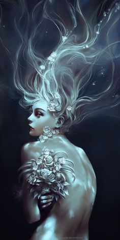 """Memento Mori"" - Wenqing Yan {figurative fantasy art female back profile flowers woman digital painting} http://yuumei.deviantart.com"