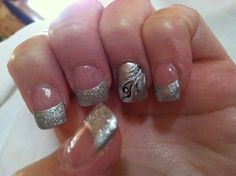 Silver tip acrylic nails