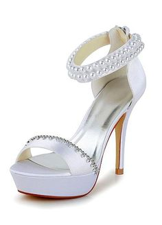 Chic Satin Upper Open Toe Stiletto Heels Bridal Shoes With Pearls & Rhinestones