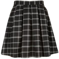 Black Grid Check Pleated Skater Skirt ($11) ❤ liked on Polyvore featuring skirts, bottoms, black pattern, patterned pleated skirt, patterned skirts, circle skirt, retro skirts and knee length pleated skirt