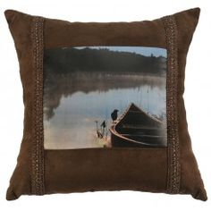 "Canoe Scene 16"" x 16"" Throw Pillow"