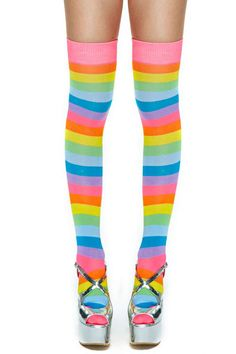 bafb8798f Find your rainbow connection in these awesome multicolor striped thigh highs  featuring mega stretch fabric and