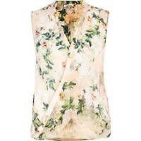 Light pink floral sleeveless wrap shirt