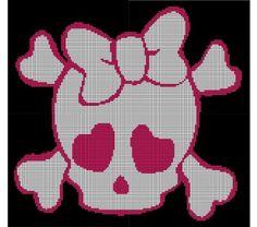 Pink Girl Skull Crochet Pattern Afghan Graph