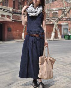 Blue Linen Dress/ Maxi Sundress Long Dress Gown / by camelliatune