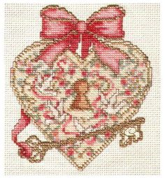 ~ Heart & Key Cross-Stitch ~