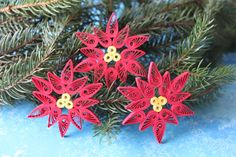 JACKSON Poinsettia Ornaments / Paper quilling ornaments / Home decoration / Handmade gift