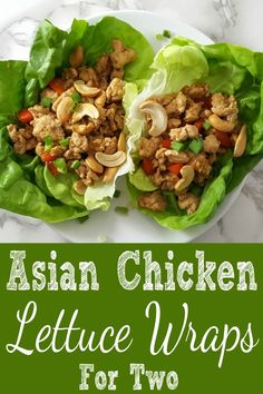 Asian Chicken Lettuce Wraps are a delicious low carb meal for two. They are packed with a ton of flavor and fun to eat if you're not afraid of hand held food! This recipe calls for ground chicken but can be swapped with ground turkey or ground beef. This dish is easy and quick, ready in less than 20 minutes. #AsianFood #LettuceWraps #chicken #wraps #DinnerForTwo #RecipesForTwo #DateNight #LowCarb via @ZonaCooks