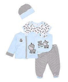 Look at this #zulilyfind! Light Blue Zebra Take Me Home Layette Set - Infant…
