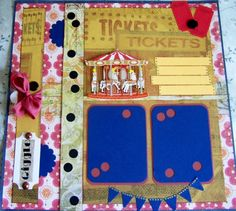 Carnival, County Fair single page scrapbook layout with Carousel Merry-Go-Round ride 12 x 12