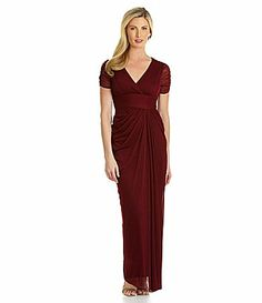 Adrianna Papell Ruched ShortSleeve Draped Gown #Dillards