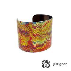 Paper Marbling - Antique Paper Bangle - Black and Yellow Cuff Bracelet - Aluminum Cuff Bracelet - Bold Jewelry - Sku R13-DS009