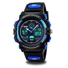 Kids Sports Digital Watch, Boys Girls Outdoor Waterproof Watches Children Analog Quartz Wristwatch - Blue - $14.99 - 14.99 #digitalwatcheswalmart