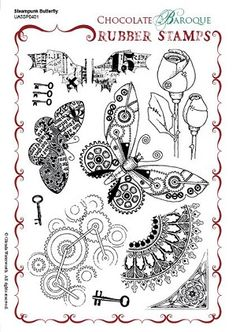 Steampunk Butterfly Unmounted Rubber stamp sheet - A5 - Chocolate Baroque