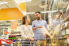 happy couple with shopping cart at grocery store - Stock Photo - Images Download here : https://photodune.net/item/happy-couple-with-shopping-cart-at-grocery-store/20076895?s_rank=221&ref=Al-fatih
