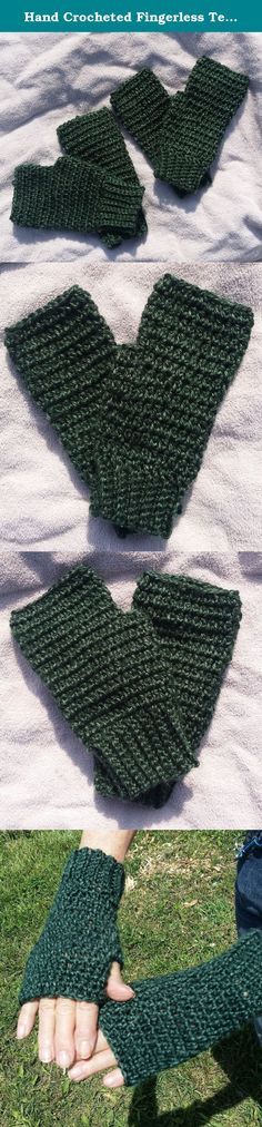 Hand Crocheted Fingerless Texting Gloves, Arthritis Hand Warmers, Deep Forest Green. These gloves will leave your fingers free for texting and work, and your hands warm, and look great doing it! These beautiful soft fingerless gloves are of a light, silky, premium acrylic in a rich deep forest green. Gorgeous yarn shot through with vibrant dark and golden undertones. If you have joint issues, you know all about going in and out of air conditioning, playing cards or socializing in a…