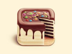 iOS icons Set by Zaib Ali- This very nice look cake is quite cute- I love the cut out and the lovely colored sprinkles that add just the right amount of color-