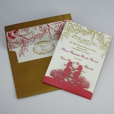 The perfect mix of elegance and fun for your destination wedding invitation. Kissing seahorse is shown with a laser cut holder and two color ---Actual link for larger picture!