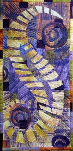 Art quilt Sea Horse by ArtQuiltsbyGretchen on Etsy by Hercio Dias