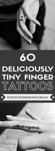 60 Deliciously Tiny Finger Tattoos - Stay at Home Mum Inside Finger Tattoos, Inner Finger Tattoo, Finger Tattoo For Women, Finger Tats, Purple Tattoos, Dainty Tattoos, Hand Tattoos, Small Tattoos, Cool Tattoos