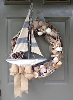 Beach Wreath Nautical Wreath Summer Wreath by YellowFinchWreaths Sand 'N Sea Properties LLC, Galveston, TX Nautical Wreath, Seashell Wreath, Seashell Crafts, Beach Crafts, Diy Crafts, Beach Themed Crafts, Coastal Wreath, Driftwood Wreath, Deco Marine