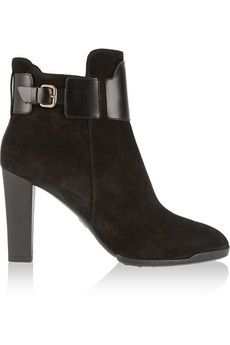 Tod's Suede and leather ankle boots | NET-A-PORTER