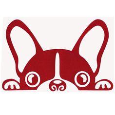 vinilo bulldog frances coche rojo