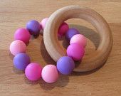 Wooden Silicone Teething Ring Wooden Rings, Teething, Food Grade, Wax, Unique Jewelry, Handmade Gifts, Etsy, Kid Craft Gifts, Wood Rings