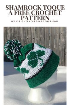 Shamrock Toque - Free Crochet Pattern #freecrochetpattern #toque #stpatricksday
