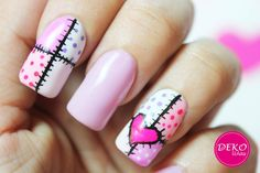 Decoracion de uñas corazon / Heart patchwork nail art tutorial