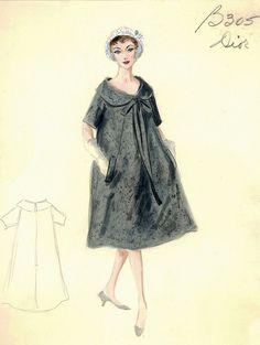 En 1958, après la Mort de Christian Dior, Yves Saint Laurent, 22 ans seulement, fit un Triomphe avec sa Collection 'Trapèze' (Croquis)