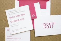 pink and oh so modern invites by http://chips-ny.com/  Photography, Planning   Design By / bestdayeverdesign.com