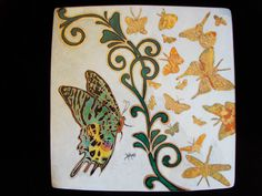 hand painted porcelain piece with penwork, gold work, leafing, chip off butterflies