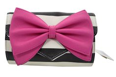 Mod 60's Pinup Striped Clutch Purse with large Bow accent with a shoulder strap