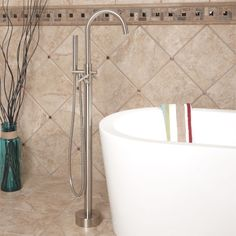 Montebello Gooseneck Freestanding Bath Filler / hand sprayer-Brushed Nickel CODE: 107598